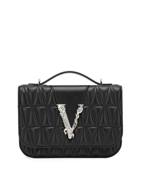 Versace Virtus Quilted Leather Top-Handle Bag