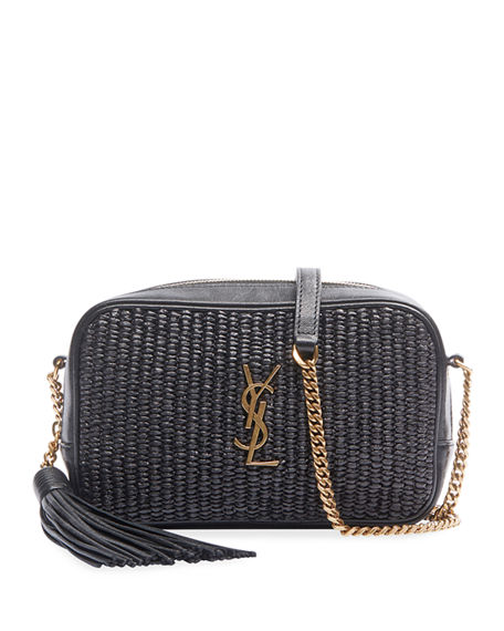 Saint Laurent Lou Mini YSL Monogram Raffia Camera Bag
