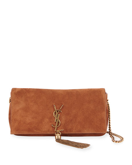 Saint Laurent Kate YSL Monogram Suede Shoulder Bag w/ Tassel