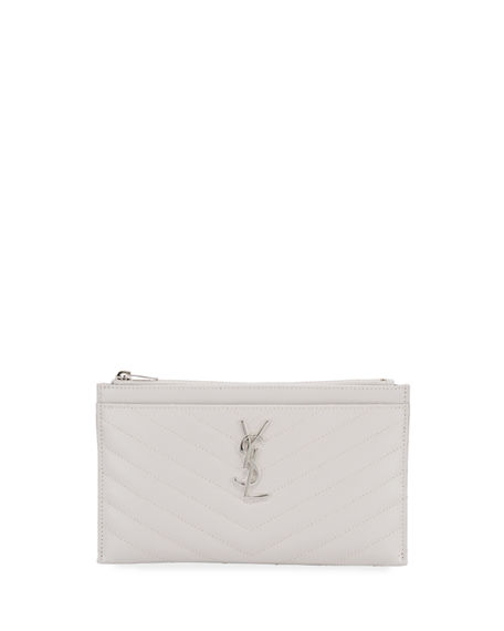 Saint Laurent YSL Monogram Chevron Quilted Pouch Bag/Wallet