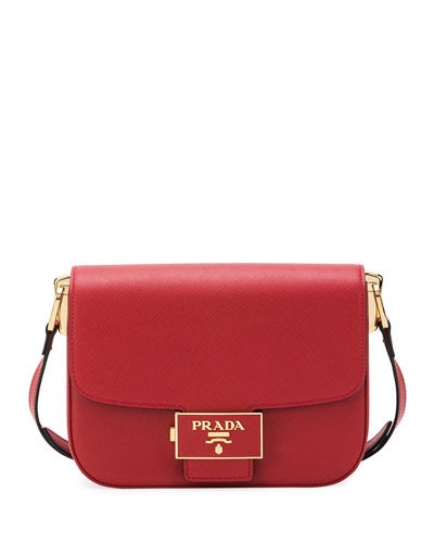 Emblem Saffiano Leather Crossbody Bag