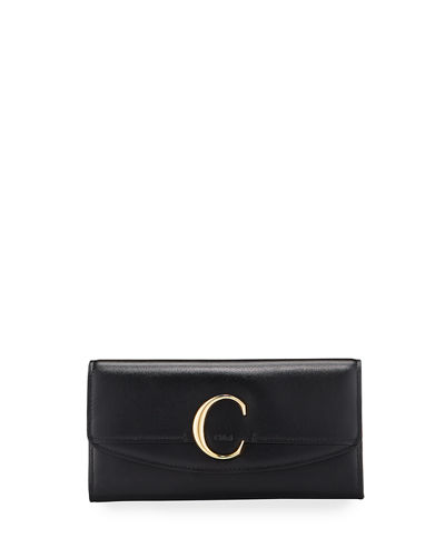 C Long Smooth Wallet With Flap