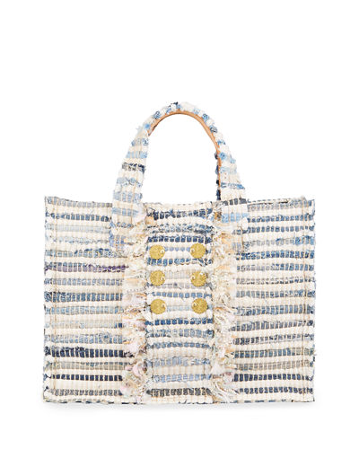 Midi Tweed Book Tote Bag with Coins