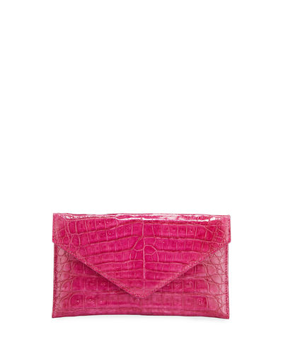 Flat Caiman Crocodile Envelope Clutch