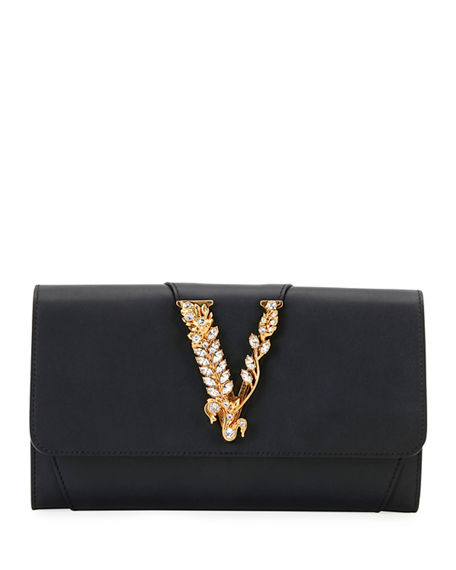 Versace Virtus Evening Leather Wallet on Chain