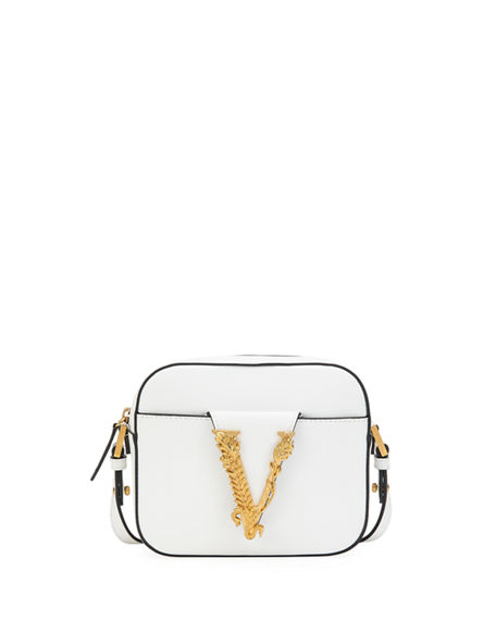 Versace Virtus Leather Medallion Camera Bag