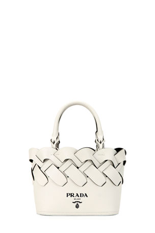 Prada Woven Leather Top-Handle Tote Bag