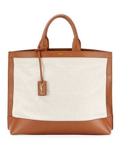 Cabas Linen Tote Bag with YSL Tag