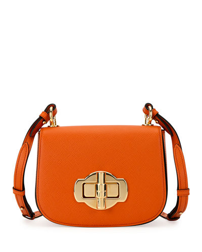 Pattina Saffiano Leather Crossbody Saddle Bag