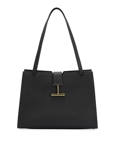TOM FORD Tara Large Grain Leather Shoulder Tote Bag