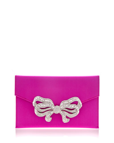 Crystal Bow Satin Envelope Clutch Bag