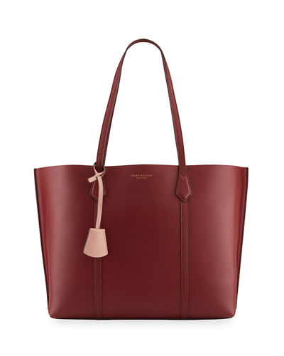 Perry Triple-Compartment Leather Tote Bag
