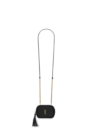 Saint Laurent Monogram YSL Grain de Poudre Key Pouch on Chain