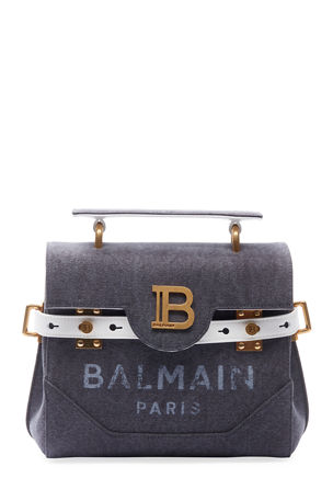 Balmain BBuzz 23 Canvas Washed Logo Shoulder Bag