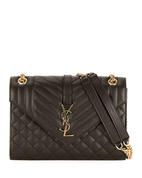 Saint Laurent Medium Tri-Quilted Matelasse Grain de Poudre Flap Shoulder Bag, Golden Hardware