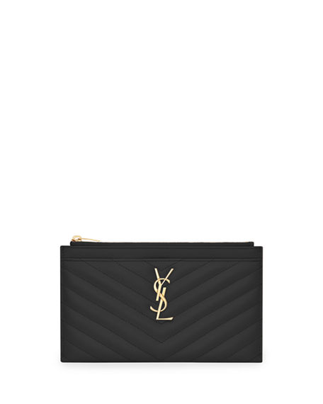 Saint Laurent Monogramme Grain de Poudre Bill Pouch Wallet