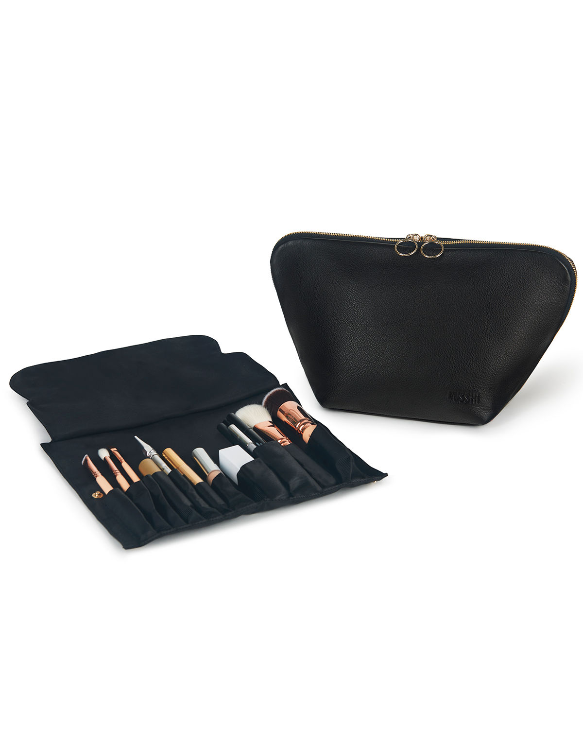 Vacationer Leather Makeup Bag w/ Organizer