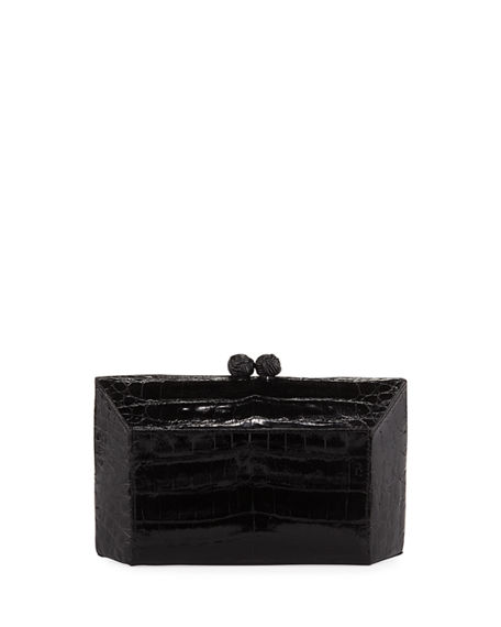 Nancy Gonzalez Gramercy Faceted Crocodile Minaudiere Clutch Bag