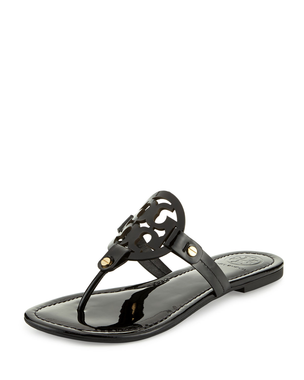 cacc06155b Tory Burch Miller Medallion Patent Leather Flat Thong | Neiman Marcus