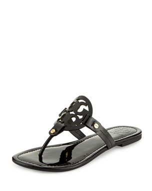 cd7d18c02 Tory Burch Miller Medallion Patent Leather Flat Thong