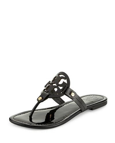 Medallion Patent Leather Flat Thong