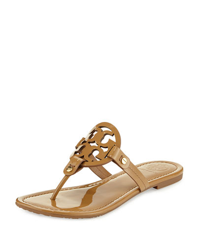 Miller Medallion Patent Leather Flat Thong