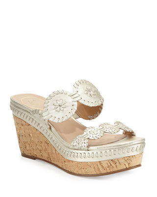 Leigh Metallic Leather Cork Wedge Sandals