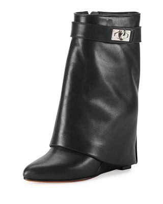 Calfskin Shark-Lock Fold-Over Bootie