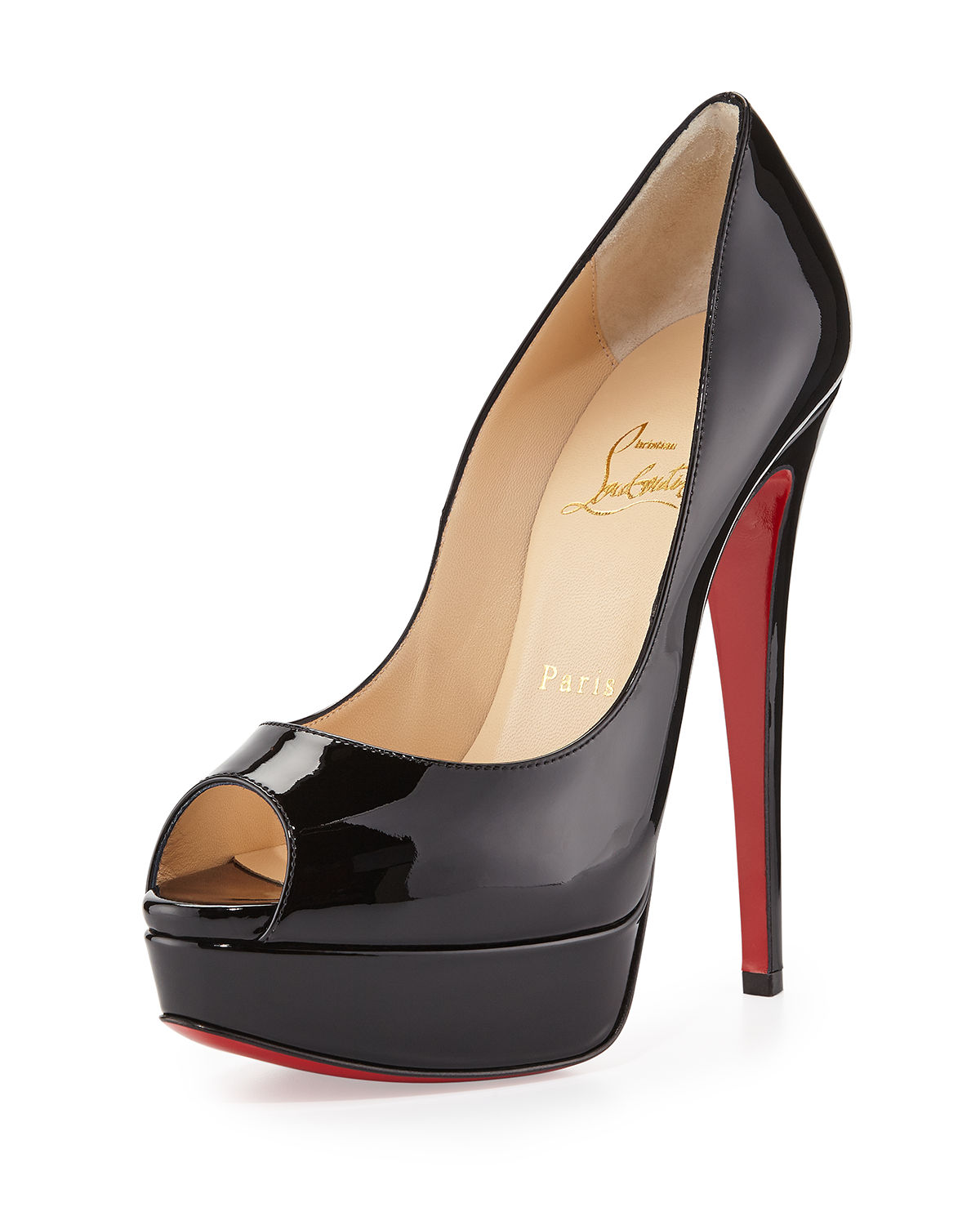 d5c5fb172de4 Christian Louboutin Lady Peep Patent Red Sole Pump