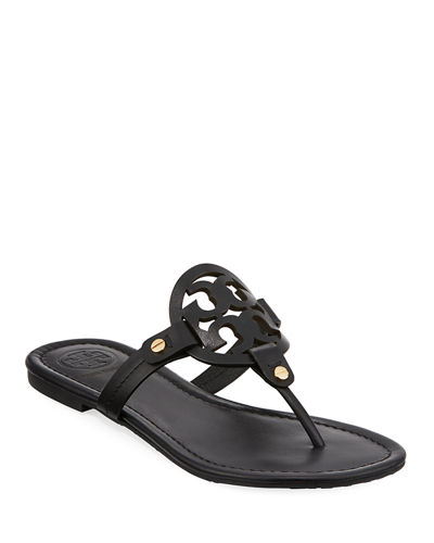 Medallion Leather Flat Thong