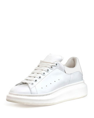Image 1 of 3: Leather Lace-Up Platform Sneaker