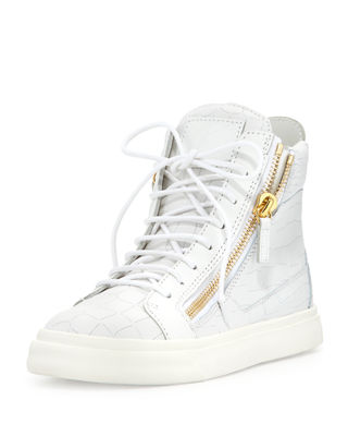 Crocodile-Embossed High-Top Sneaker