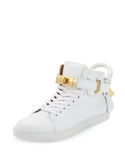 Women's Padlock & Key Pebbled Leather Sneaker