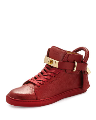 Image 1 of 3: Women's Padlock & Key Pebbled Leather Sneaker