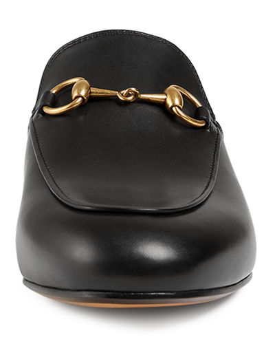Leather Horsebit Mule Slipper Flat