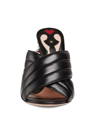 Webby Quilted Leather Snake-Heel Mule Sandal