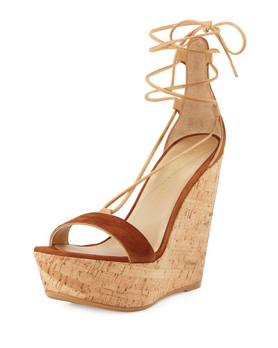 Stuart Weitzman Wrap It Suede Lace-Up Wedge Sandal