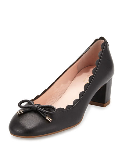 yasmin scalloped leather pump