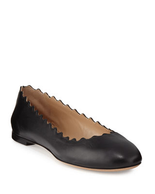 Chloe Lauren Scalloped Leather Ballerina Flat