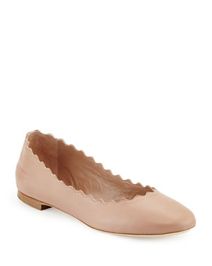 e00b67be683d Chloe Lauren Scalloped Leather Ballet Flats