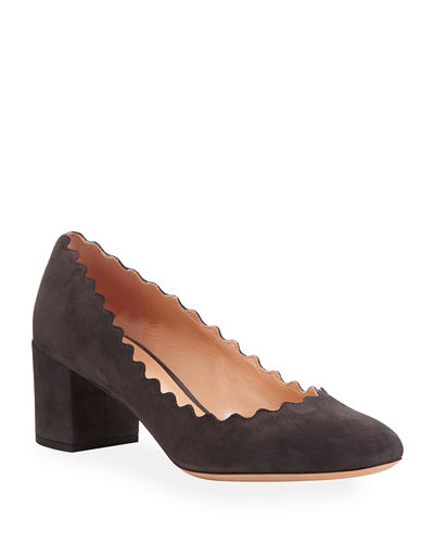 Lauren Scalloped Suede Pump