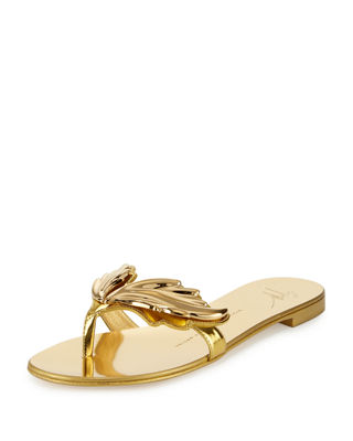 Wings Metallic Flat Thong Sandal