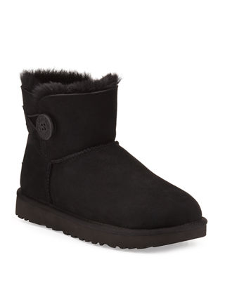 UGG Women'S Suede Ankle Boots Booties Mini Bailey Button in Black
