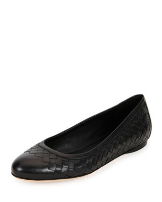 Bottega Veneta Patent Leather Round-Toe Flats