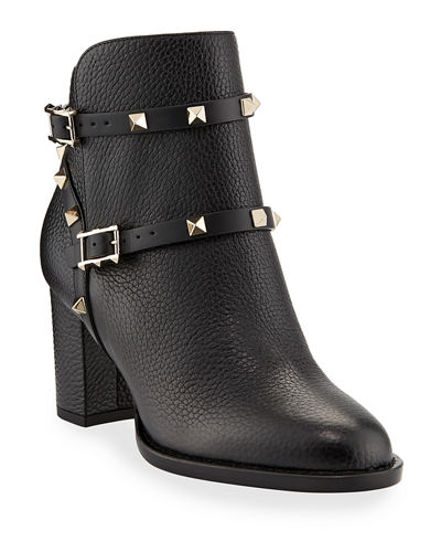 Rockstud Leather 70mm Chunky-Heel Bootie
