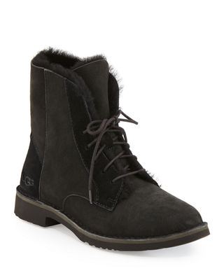 UGG Australia Shearling-Trimmed Combat Booties