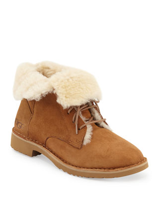 Quincy Leather And Sheepskin Lace Up Booties in Chestnut Suede