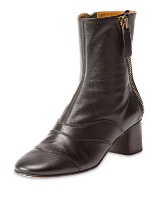Chloe Side-Zip Leather 50mm Ankle Boot
