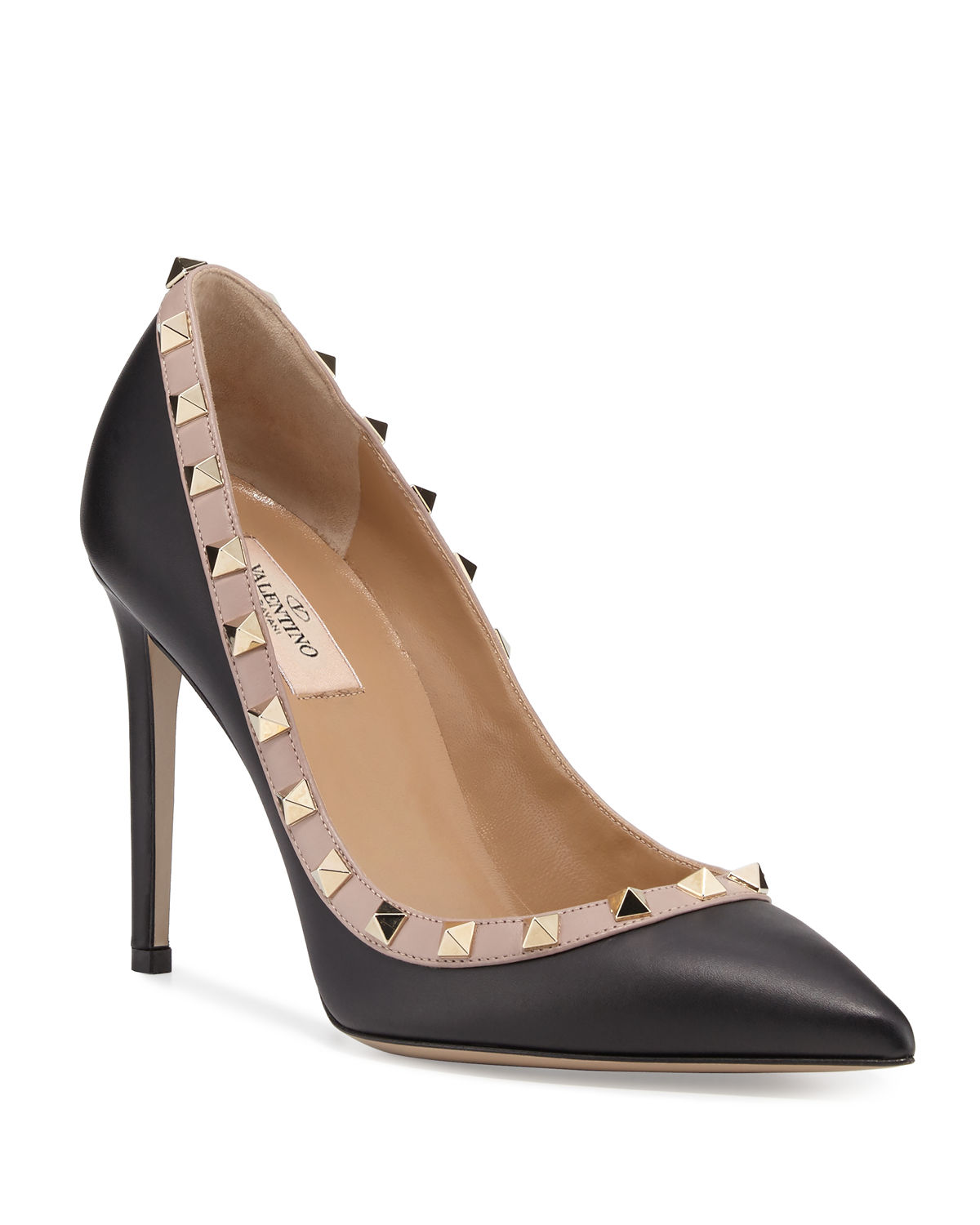 6952feab39 Valentino Garavani Rockstud Leather 100mm Pump | Neiman Marcus