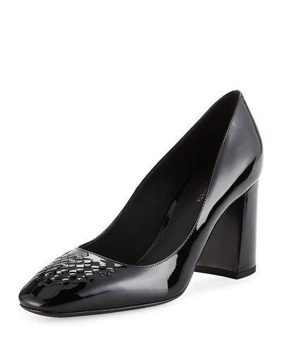 Bottega Veneta Intrecciato-Toe Patent 80mm Pump